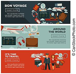 Bon voyage around world and time to travel posters