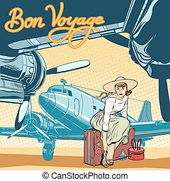 Bon voyage beautiful girl on the runway pop art retro style. Retro poster travel. Lady traveler