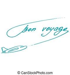 Bon Voyage design. Summer postcard. Vector illustration