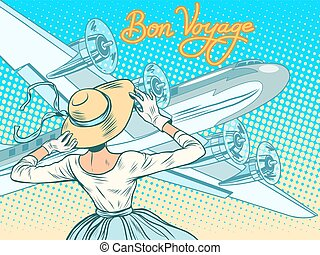 Bon voyage girl escorts aircraft pop art retro style. Retro...
