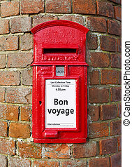 Bon voyage message - British post box with a message that...