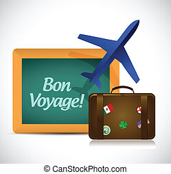 bon voyage or safe trip travel illustration design over a...
