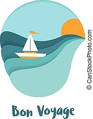 Bon Voyage post card design.