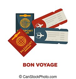 Bon voyage promotional poster with international passports and tickets