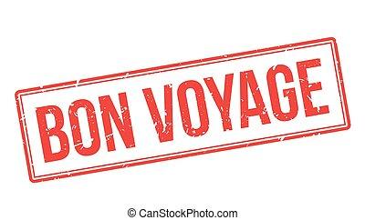 Bon Voyage rubber stamp on white. Print, impress, overprint.