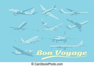 Bon voyage, set of aircraft air transport