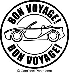 Bon voyage solid style black  rubber stamp with car, cabriolet.
