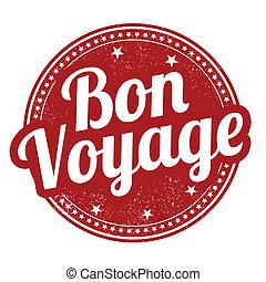 Bon voyage stamp - Bon voyage grunge rubber stamp on white,...