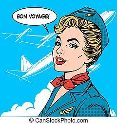 Bon voyage stewardess airplane travel tourism pop art retro...