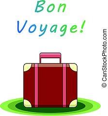 Bon voyage suitcase. Vector illustration