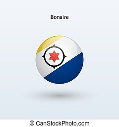 Bonaire round flag. Vector illustration.