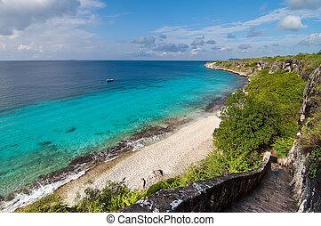 bonaire, señal, caribbean., ubicación