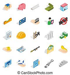 Bonanza icons set, isometric style - Bonanza icons set....