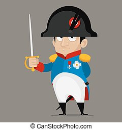 bonaparte, asideros, carácter, espada, caricatura, napoleon