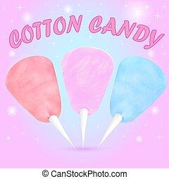 bonbon, couleurs, ensemble, différent, illustration, coton