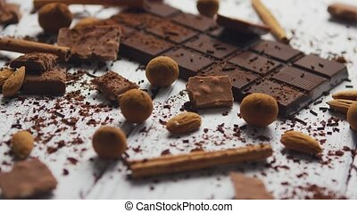 bonbons, épices, noir, chocolat