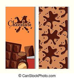 bonbons, bannières, éclaboussure, barre, chocolat