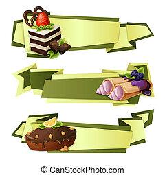 bonbons, bannières, papier