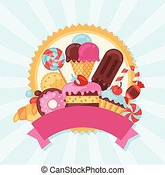 bonbons, bonbon, fond, coloré, cakes.