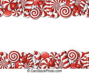 bonbons, cadre, fait, blanc rouge