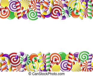 bonbons, cadre, fait, coloré