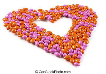 bonbons, coeur, fait, dragee, doux