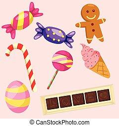 bonbons, ensemble, illustrateur