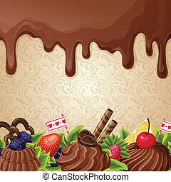 bonbons, fond, chocolat