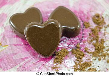 bonbons, forme coeur, chocolat