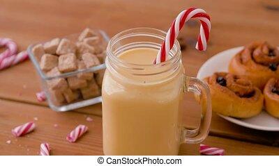 bonbons, ingrédients, verre, eggnog, grande tasse
