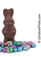 bonbons, lapin, coloré, chocolat