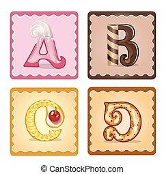 bonbons, lettres, a