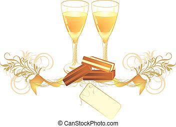 bonbons, lunettes champagne