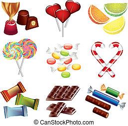 bonbons, vecteur, ensemble, coloré