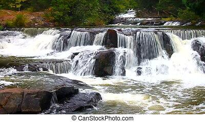 Bond Falls River Rapids - River rapids at Bond Falls Scenic...