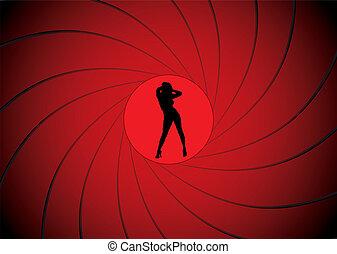 bond gun barrel - Sexy women dancing in a gun barrel sight...