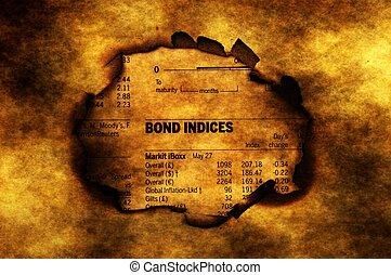Bond indices on grunge background