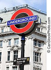 Bond street underground sign, London - Bond street...