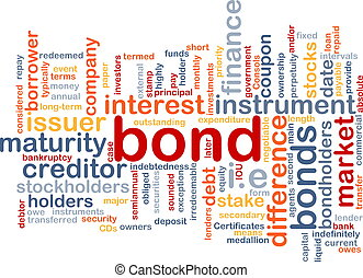 Bond wordcloud concept illustration - Background text...