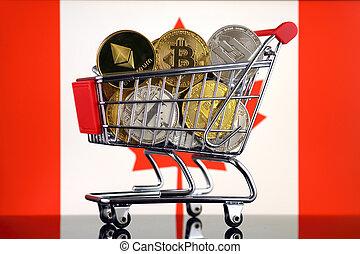 bonde compras, cheio, de, físico, versão, de, cryptocurrencies, (bitcoin, litecoin, traço, ethereum), e, canadá, flag.