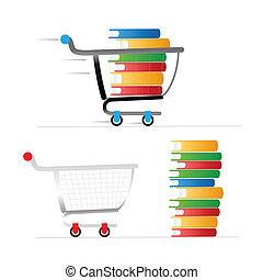 bonde, cor, livros, shopping