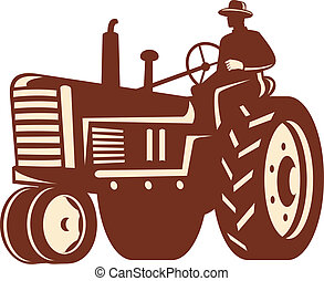 bonde, drivande, årgång, traktor, retro
