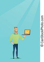 bonde, laptop, screen., segurando, homem