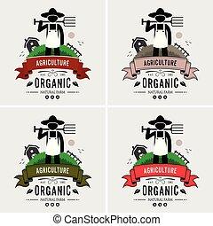 bonde, logo, jordbruk, design.
