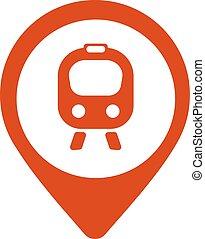 bonde, mapa, trem, -, ilustração, vetorial, ícone