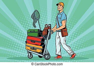 bonde, passageiro, macho, viajante, bagagem