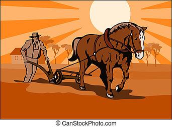 bonde, plöjning