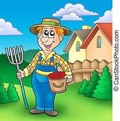 bonde, tecknad film, trädgård