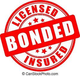 bonded, ラウンド, 認可された, シール, 保険を掛けられた