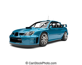Bondi blue modern touring race car